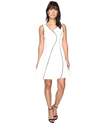 6a68e22747571 Adelyn Rae Women s linsey Knit Ponte Fit and Flare Dress White Black Dress
