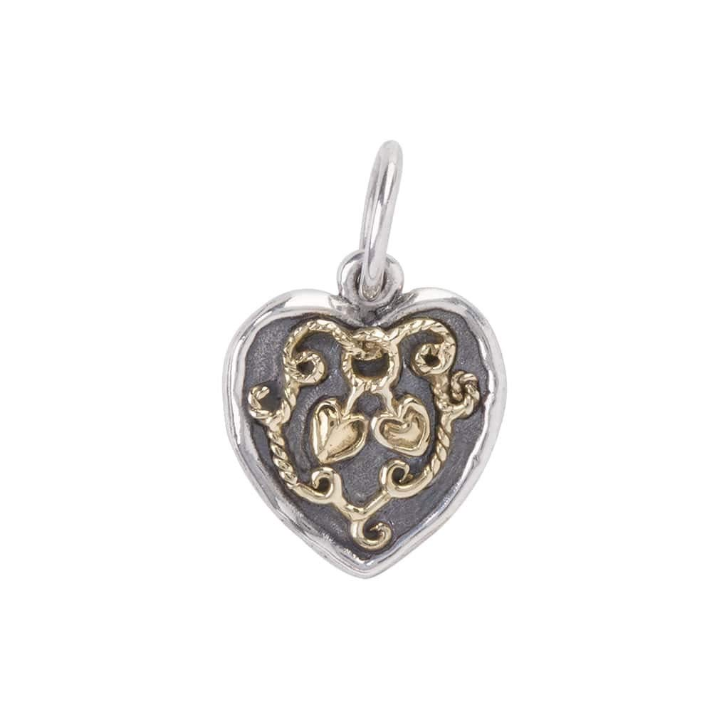 Waxing Poetic Evertied Heart Sterling Silver and Brass Heart Sentiment Charm