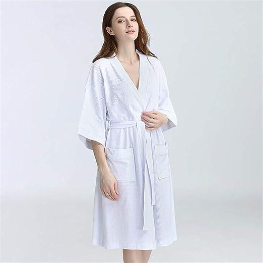 ZSDGY Albornoz de algodón/Traje de Vapor para Mujer Traje de Kimono japonés Bata de baño/Algodón de Gama Alta Pijamas de salón de Belleza E-M: Amazon.es: Hogar
