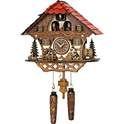 Quartz Cuckoo Clock Black Forest house with moving beer drinker and mill wheel, with music TU 4208 QMT HZZG
