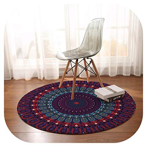 Bedroom Carpets Bohemian Round Area Rug for Living Room Purple Blue Red Absorbent Floor Rug Play Mat 150cm,Purple,Diameter 100cm