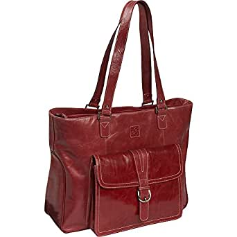 """Clark & Mayfield Stafford Vintage Leather Laptop Tote 17.3"""" (Red)"""