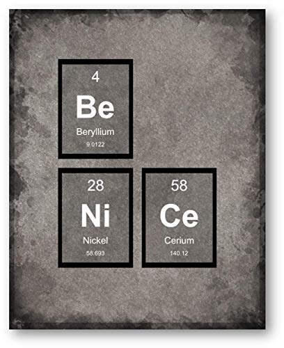 BE NICE Periodic Table of Elements Classroom Print - 11 x 14 Unframed Print - Great Gift for Teachers, Librarians, Students, Geeks, Scientists, Techies. Home Office Wall Decor - Library, Den Artwork