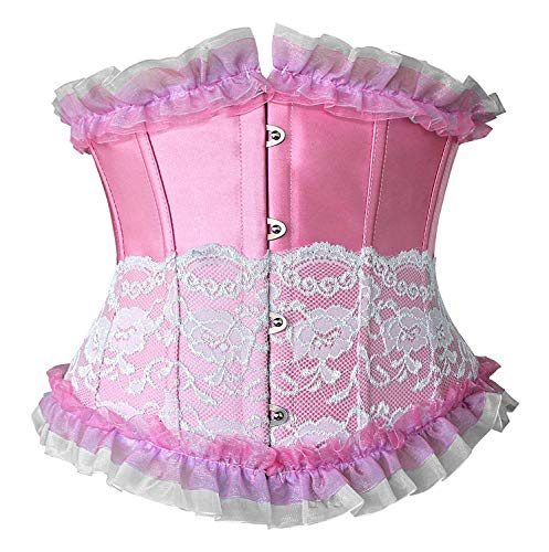Ancoset Women's Fashion Trim Lace Up Corset Boned Underbust Waist Training Corset Top Pink M/Fit Waist 24.5