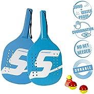 Speedminton SM01-PADDLE-12 Wooden Light Beach Paddle 2 Player Set with Balls & Birdie,