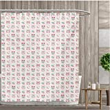 Pink and Tan Shower Curtain smallfly Owls Bathroom Decor Set with Hooks Lovely Good Night Themed Owls Pattern Ornate Style with Stars Moon and Clouds Shower Curtains Fabric 36