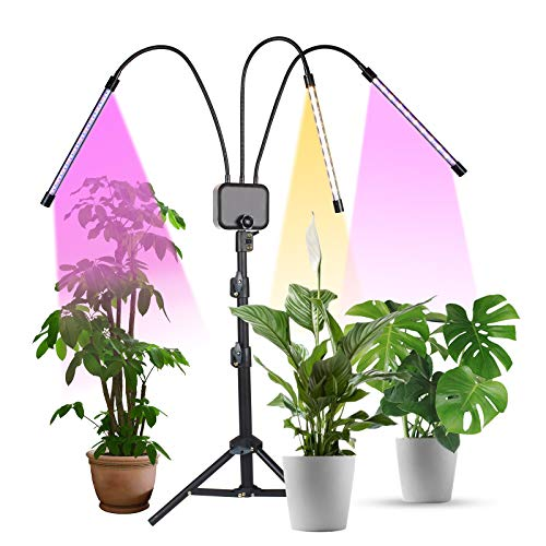 Growing Light with Stand, KORAM 60W LED Tri-Head Full Spectrum Plant Grow Lamps for Indoor Plants, Tripod Stand Adjustable with Timing 3/9/12H Function &3 Modes