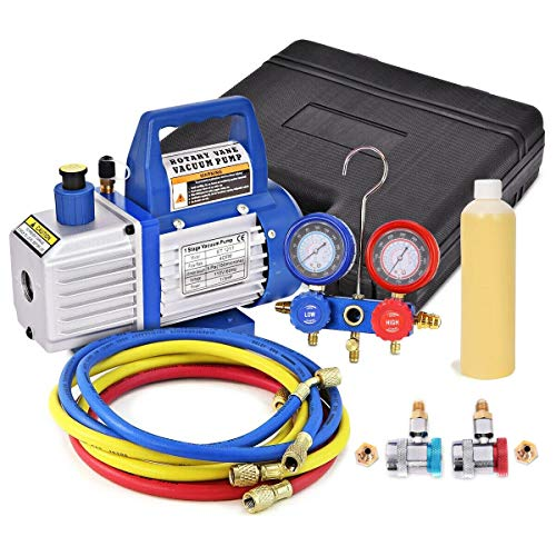 4CFM 1/3HP Air Vacuum Pump HVAC Refrigeration Kit Gauge Set R134 Business Industrial Motors Automotive Tools Supplies Diagnostic Service Home Hardware Heating, Ventilation Controls Automatic Pneumatic from Lek Store