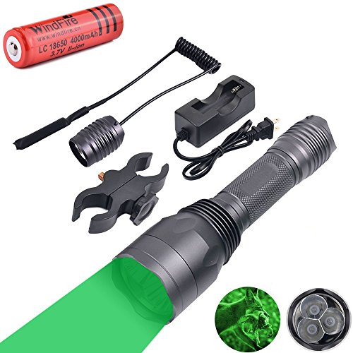 WindFire S10 300 Yards 650 Lumen 3pcs Green LED Hunting Tactical Flashlight Long Range Hog Predator Varmint Green Hunting Gear Kit with Scope Mount, Pressure Switch, Rechargeable Battery and Charger by WindFire (Image #9)