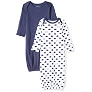 Moon and Back Baby Set of 2 Organic Sleeper Gowns, Navy Sea, 0-6 Months