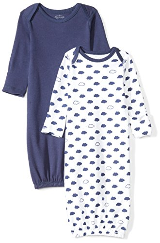 Cotton Infant Gown - Moon and Back Baby Set of 2 Organic Sleeper Gowns, Navy Sea, 0-6 Months