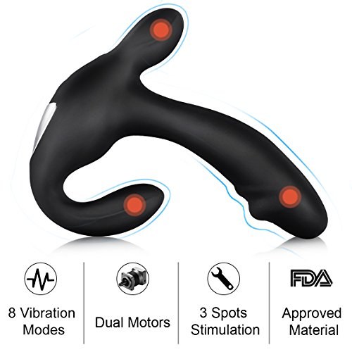 Male G Spot Vibrator Prostate Massager with 8 Vibration Modes, PALOQUETH 3 in 1 Prostate Stimulator with 2 Intense Motors for P-Spot Testicles Perineum Stimulation, Wireless Remote Anal Sex Toy by PALOQUETH (Image #1)