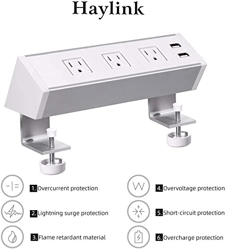 2 Outlet Clamp Mount Power Strip with USB Charging, Under Desk Removable Desktop Power Center Station, Outlet 110-220V 50HZ 10A, USB 5V 2.1A 5.9 ft Power Cord White