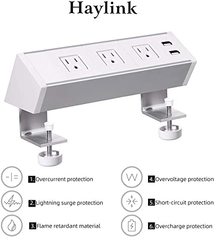 3-Outlet Surge Protector with Desk Clamp /& 2 USB Ports Tripp Lite Protect It