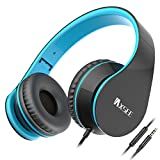 Cheap IAXSEE I70 Wired On-ear Headphones with Microphone and Volume Control Stereo Lightweight Adjustable Headsets for iPad iPod Android Smartphones Laptop Mp3(Black Blue)