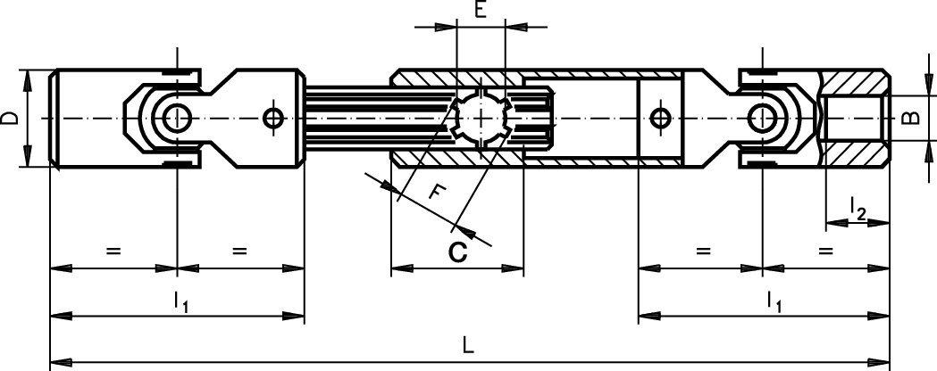 Precision slip shaft with joints PWR both sides bore 12H7 telescoped length 240mm max length 270mm stainless steel 1.4301