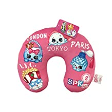 "Shopkins Squad Pink Plush 11"" x 13"" Neck Pillow with Poppy Corn, Handbag Harriet, Petite Perfume & Sushanne (Official Shopkins Product)"