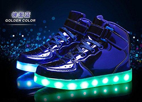 Scarpe Sneakers Adulto Luminosi Blu Led Usb Acceso Lampeggiante Carica Rojeam top Unisex High Bambino 5f8wWxqU