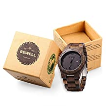RoseGal Waterproof Male Wooden Quartz Analog Bamboo Watch with Date Display Wrist Watch for Men with a Cube Gift Box by Bewell ZS - W086B(Ebony Wood)