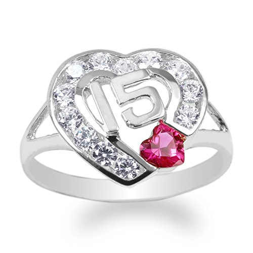 JamesJenny 925 Sterling Silver 15 Anos Quinceanera Red CZ Heart Ring Size 6.5 ()