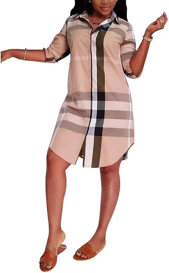 Vestidos Moda Mujer Elegante para Mujer A Cuadros Camisa Falda ...