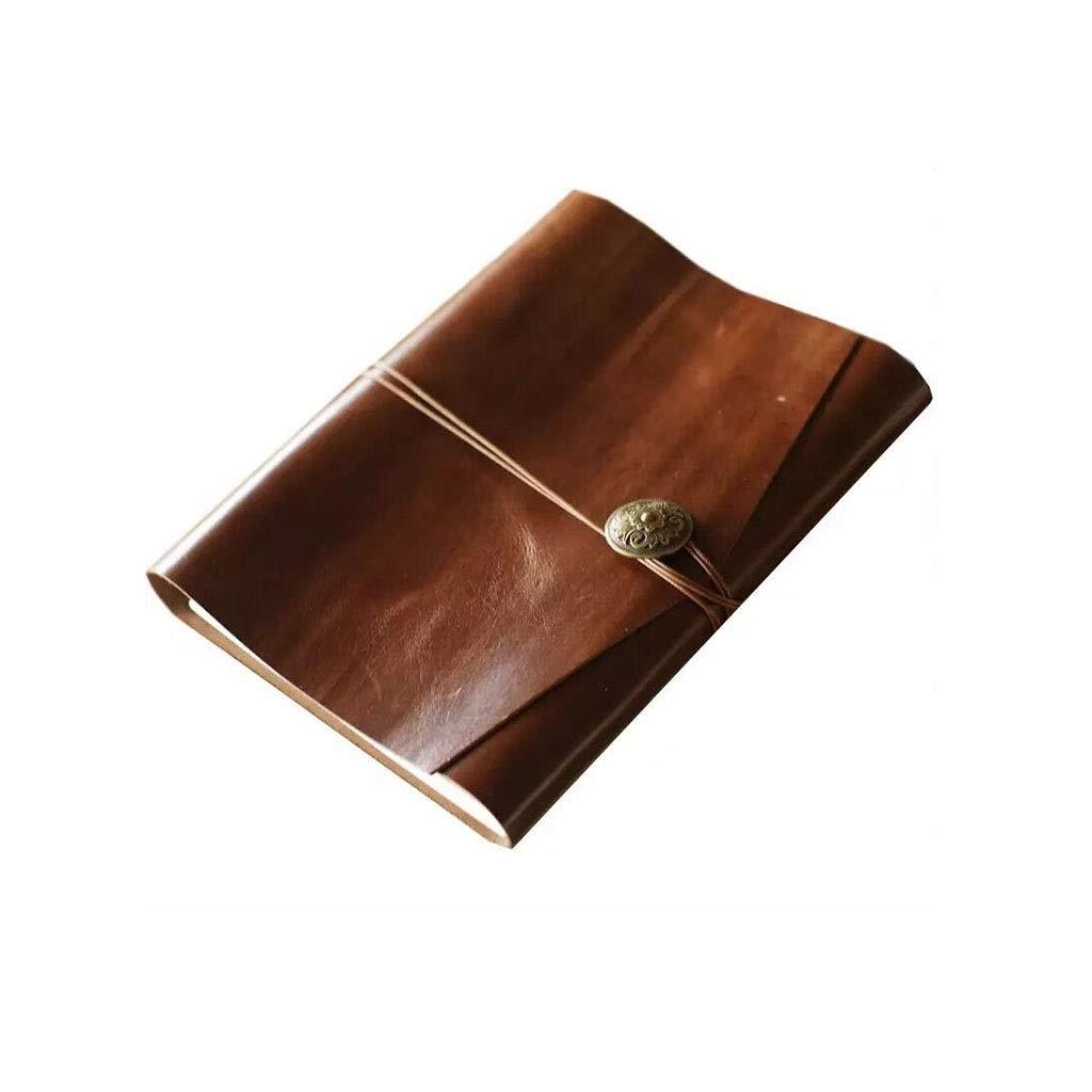 HU Leather DIY Travel Photo Album, Retro Handmade Album Book Love Memory Manual 34.5x19.5cm by HU-Memorial album