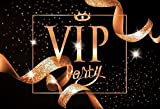 7x5ft Elegant VIP Gold Curly Ribbons Photography Backdrop Computer Printed Party Black Background Photo Studio Prop