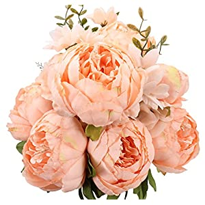 Duovlo Springs Flowers Artificial Silk Peony Bouquets Wedding Home Decoration,Pack of 1 (Spring Orange-Pink) 13
