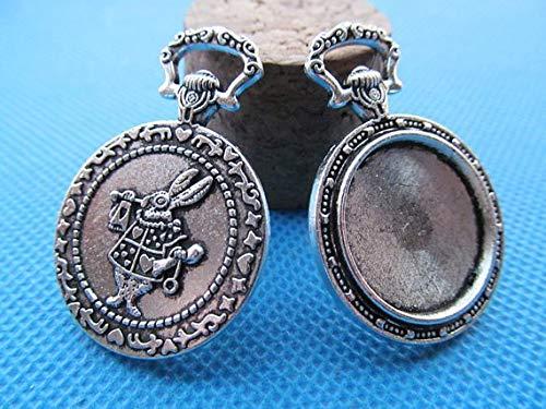 Antique Silver/Antique Bronze Vintage Rabbit Pocket Watch | Pendant Charm Watch (5pcs)