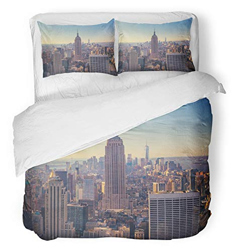 Emvency 3 Piece Duvet Cover Set Breathable Brushed Microfiber Fabric Aerial View of Manhattan Skyline and Skyscrapers at Sunrise New York City USA Bedding Set with 2 Pillow Covers Twin Size