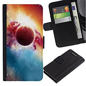 KingStore / Leather Etui en cuir / Sony Xperia Z1 Compact D5503 / Red Planet Explosion Galaxy Universo Arte