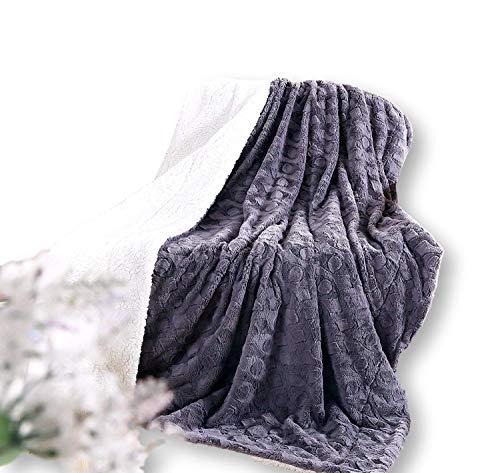 - DaDa Bedding Lavish Throw Blanket - Castle Royalty Soft Warm Plush - Faux Fur Textured Sherpa Fleece - Embossed Cool Grey & White - 63