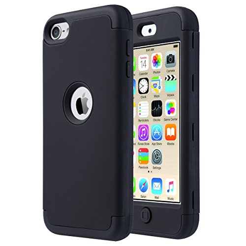 Caso del iPod 6, ULAK iPod Touch 5 caso iPod 6 Funda Carcasa híbrido de 3 capas de silicona resistente a la intemperie caso cubierta dura para iPod Touch 5ta / 6ta generación (oro rosa) F-Negro + Negro