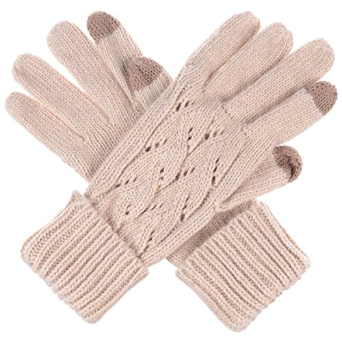 Byos Women Winter Wool Blend Cable   Leafy Pattern Texting Knit Gloves W  Two Fingertips Conductive Tech For All Touch Screen Devices Smartphone   Tablet  Beige Leafy