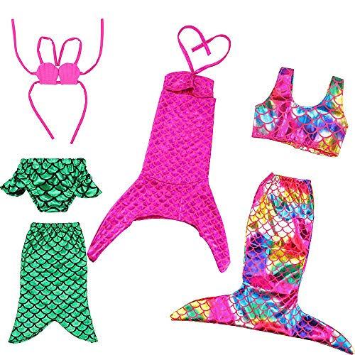 BARWA 18 Inch Doll Clothes Accessories 3 Sets Princess Mermaid Tail Outfits Dress Swimsuit Bikini Tops Underwear Swimwear for 18 Inch -