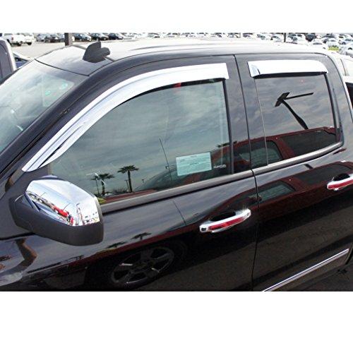 4-Piece Set for 2014-2018 Silverado /& Sierra 1500 2015-2018 Silverado /& Sierra 2500HD-3500HD with Crew Cab Auto Ventshade 684536 Chrome Ventvisor Side Window Deflector
