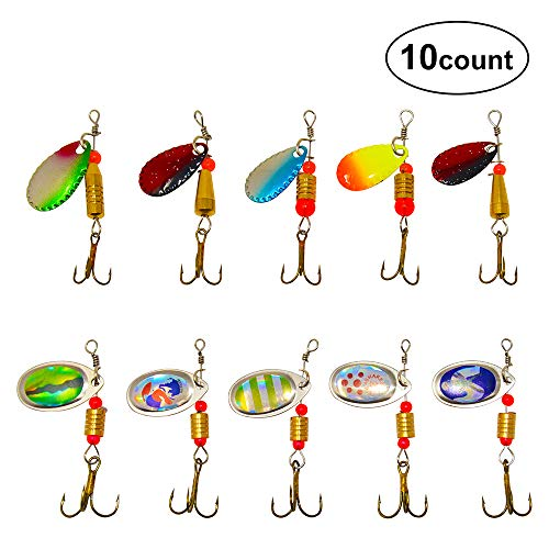 DAOUD-PRO 10/30 pcs Fishing Spoon Lures Kit with Treble Hooks, Metal Lures Casting Spinner Fishing Baits for Bass Salmon Trout Crappie Freshwater Saltwater (10 pcs) (Best Rig For Salmon Fishing)