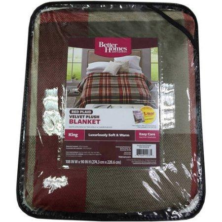 Better Homes and Gardens Velvet Plush Blanket (FULL/QUEEN, Red Plaid)
