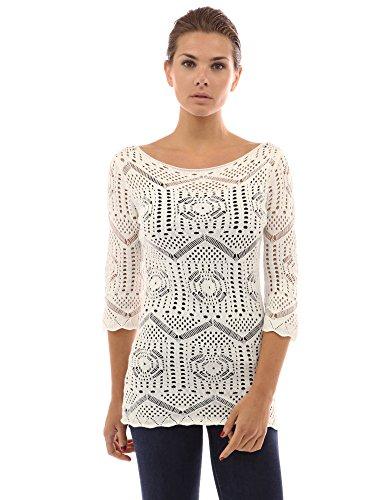 Crochet Tunique dcontracte Femmes Blanc en Maille PattyBoutik vFUPqc