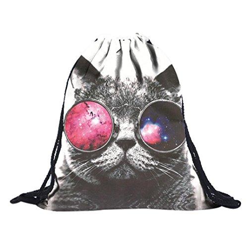 Women 3D Printing Sunglasses Cat Backpack Travel Drawstring Bag - 3
