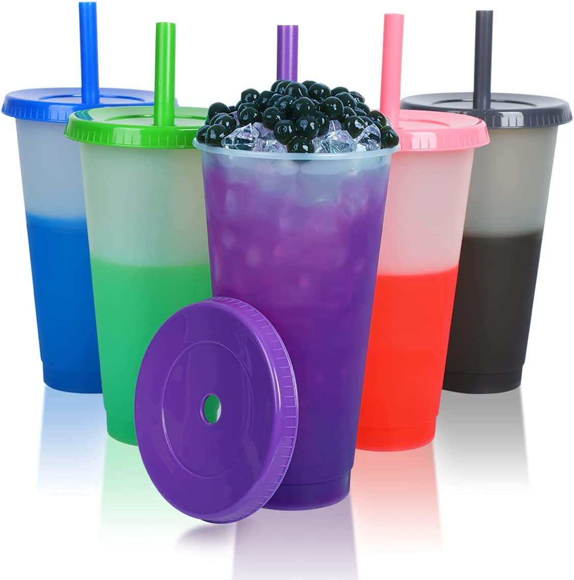 32oz Color Changing Cups with Lids & Straws - 5 Pack Reusable Party Cold Drinking Cup for Kids & Adults - Plastic Beverage Juice Smoothie Iced Coffee Tumbler Bulk with Boba Straw