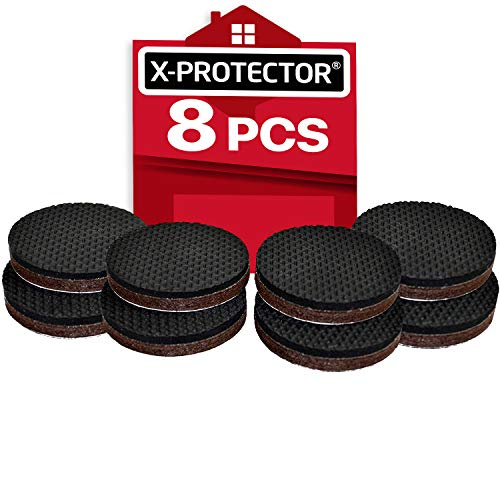 "Non Slip Furniture Grippers X-PROTECTOR - Premium 8 pcs 2"" Furniture Pads! Best SelfAdhesive Rubber Feet for Furniture Feet - Ideal Non Skid Furniture Floor Protectors for Fixation in Place Furniture"