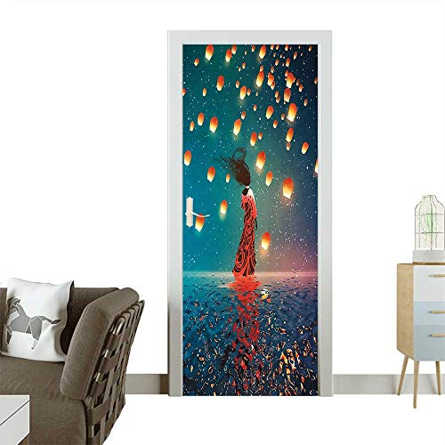 3D Door Decals House Sorcerer Woman with Red Dress Standing on Water with Lanterns on Self Adhesive Door DecalW30 x H80 -