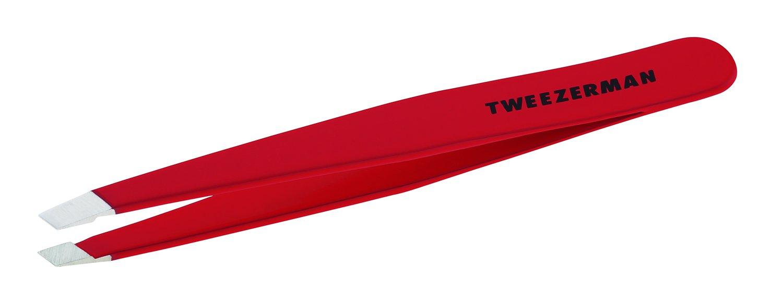 Tweezerman Stainless Steel Slant Tweezer (Signature Red)