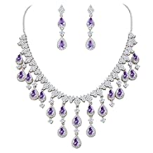 EVER FAITH Women's Cubic Zirconia Gorgeous Water Drop Dangle Necklace Earrings Set Silver-Tone