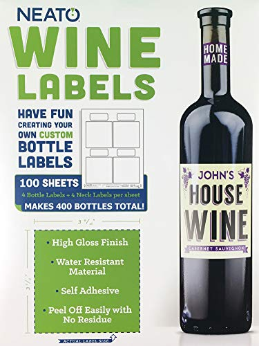 Neato Blank Wine Bottle Labels - 100 Sheets Total - Water Resistant, Vinyl, For InkJet Printers - Online Design Label Studio Included ()