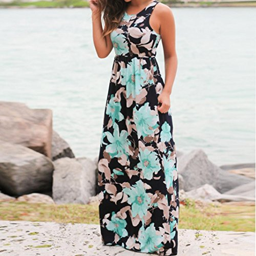 WM & MW Clearance Dresses,Women Summer Beach Dress Sleeveless Floral Pritned Sundress Loose Long Maxi Dress with Pockets (XX-Large, Blue) by WM & MW (Image #3)