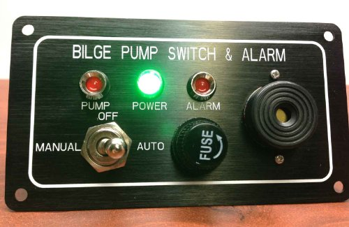 Pactrade Marine Boat Bilge Alarm Pump Switch Aluminum Plate Manual Automatic ()