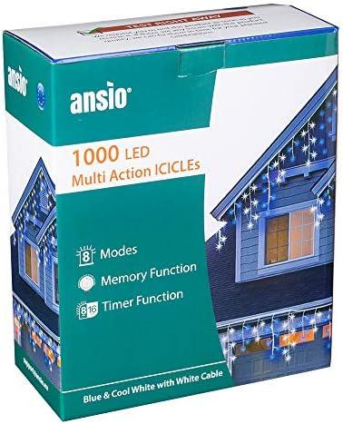 Ansio 1000 LED Tenda luminosa, Luci natalizie per interni e esterni, Bianco Freddo e blu, con 8 modalità/timer, Memoria, trasformatore incluso, 35 m lunghezza- bianca Cavo.