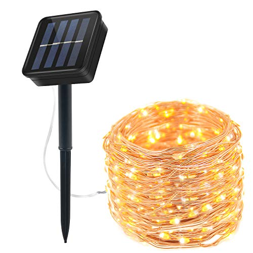 Moreplus Solar String Lights 8 Modes Copper Wire Lights Indoor/Outdoor Waterproof Decorative String Lights for Garden, Patio, Home, Yard Party, Wedding, Christmas Warm White (100 LED - 10)